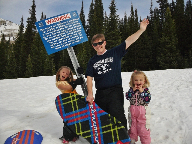 Sledding with kids in the mountains