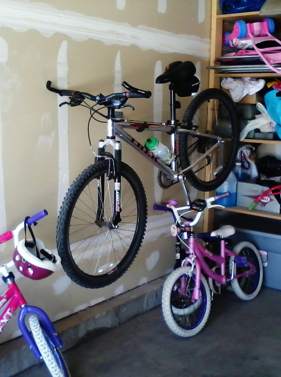 bicycle hanging on size dimensions full garage hang bikes bike rack and storage in category homemade archived vertical amazing alternative of